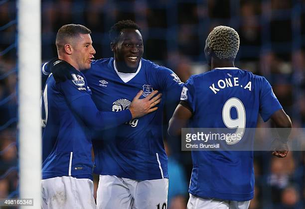Romelu Lukaku of Everton celebrates scoring his team's fourth goal with his team mate Arouna Kone and Ross Barkley during the Barclays Premier League...