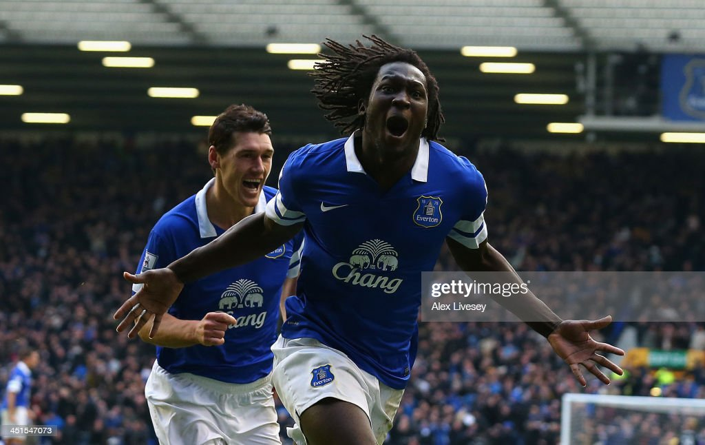 <a gi-track='captionPersonalityLinkClicked' href=/galleries/search?phrase=Romelu+Lukaku&family=editorial&specificpeople=6342802 ng-click='$event.stopPropagation()'>Romelu Lukaku</a> of Everton celebrates scoring his team's second goal during the Barclays Premier League match between Everton and Liverpool at Goodison Park on November 23, 2013 in Liverpool, England.