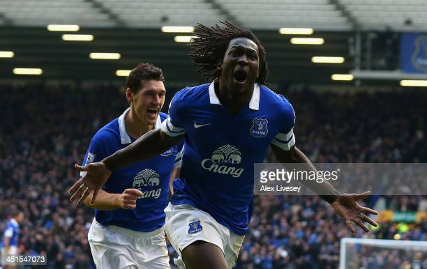 Romelu Lukaku of Everton celebrates scoring his team's second goal during the Barclays Premier League match between Everton and Liverpool at Goodison...