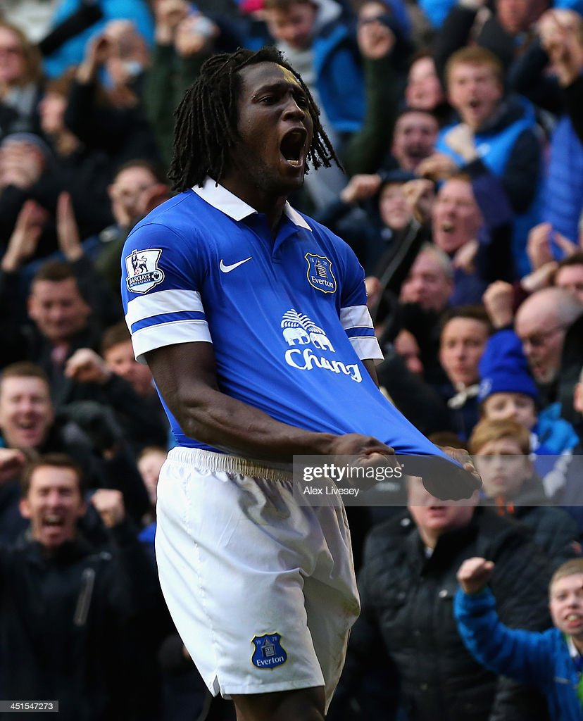 Romelu Lukaku of Everton celebrates scoring his team's second goal during the Barclays Premier League match between Everton and Liverpool at Goodison Park on November 23, 2013 in Liverpool, England.