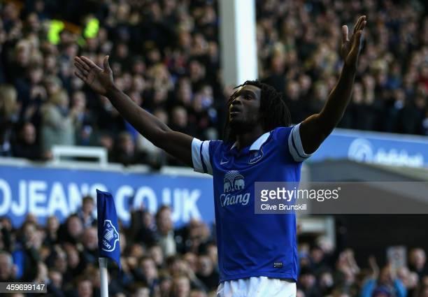 Romelu Lukaku of Everton celebrates scoring his team's second goal during the Barclays Premier League match between Everton and Southampton at...