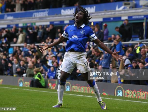 Romelu Lukaku of Everton celebrates scoring his team's third goal during the Barclays Premier League match between Everton and Liverpool at Goodison...
