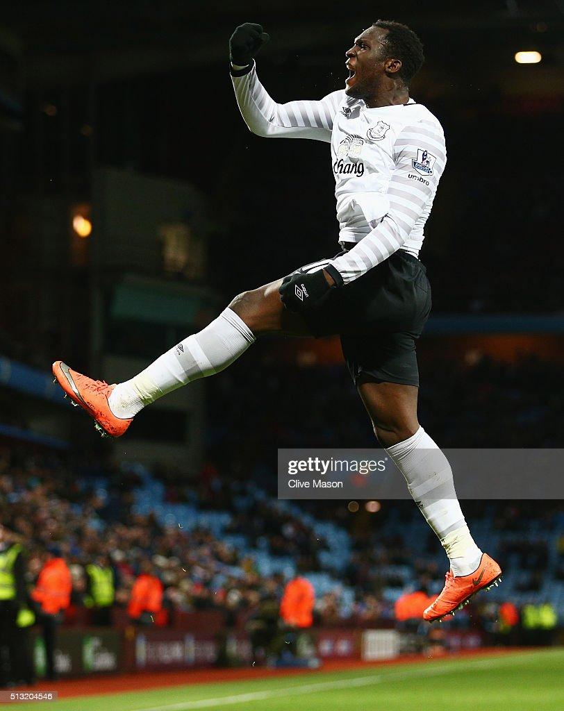 Romelu Lukaku of Everton celebrates scoring his team's third goal during the Barclays Premier League match between Aston Villa and Everton at Villa Park on March 1, 2016 in Birmingham, England.