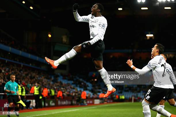 Romelu Lukaku of Everton celebrates scoring his team's third goal during the Barclays Premier League match between Aston Villa and Everton at Villa...