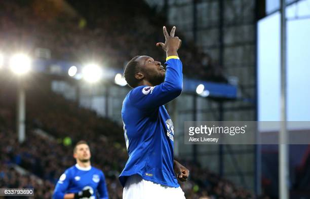 Romelu Lukaku of Everton celebrates scoring his third and his sides fourth goal during the Premier League match between Everton and AFC Bournemouth...