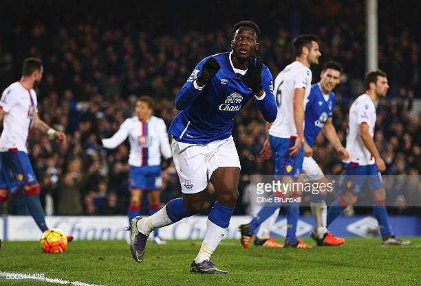 Romelu Lukaku of Everton celebrates scoring the equalising goal during the Barclays Premier League match between Everton and Crystal Palace at...