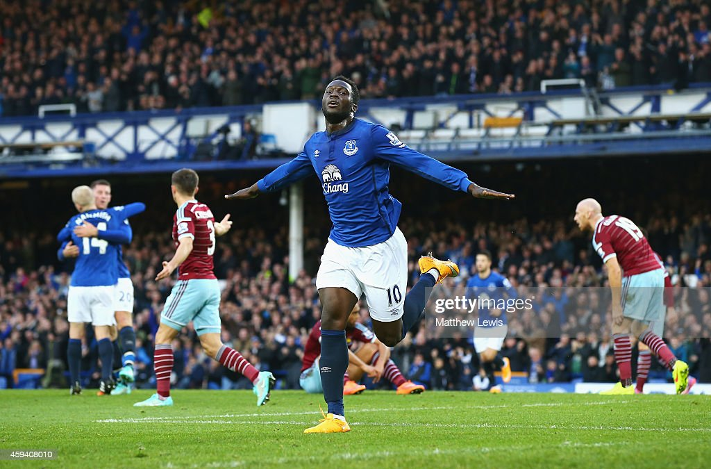 Romelu Lukaku of Everton celebrates scoring the opening goal during the Barclays Premier League match between Everton and West Ham United at Goodison Park on November 22, 2014 in Liverpool, England.