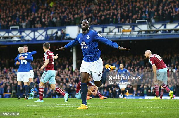 Romelu Lukaku of Everton celebrates scoring the opening goal during the Barclays Premier League match between Everton and West Ham United at Goodison...