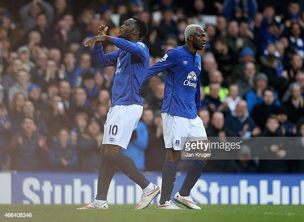 Romelu Lukaku of Everton celebrates scoring their second goal from the penalty spot with Arouna Kone of Everton during the Barclays Premier League...