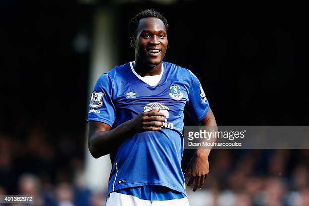 Romelu Lukaku of Everton celebrates smiles during the Barclays Premier League match between Everton and Liverpool at Goodison Park on October 4 2015...