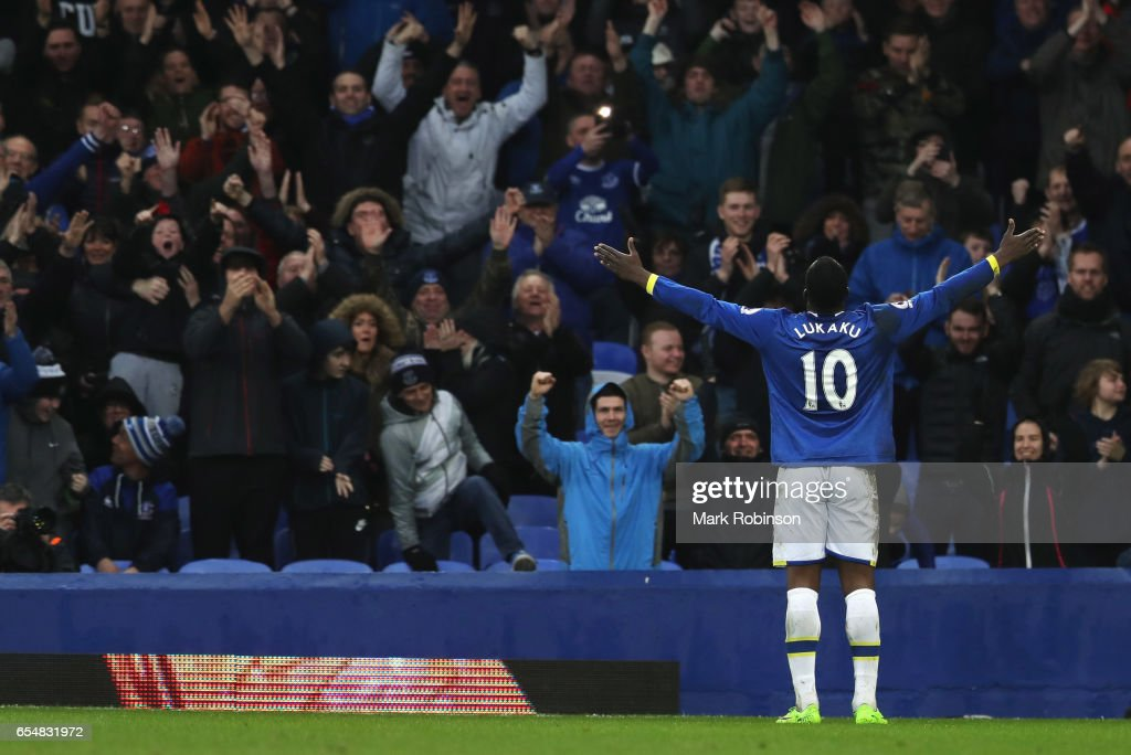 Romelu Lukaku of Everton celebrates with fans as he scores their fourth goal during the Premier League match between Everton and Hull City at Goodison Park on March 18, 2017 in Liverpool, England.