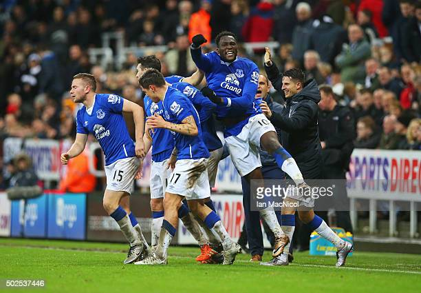 Romelu Lukaku of Everton celebrates with team mates as Tom Cleverley of Everton scores their first goal during the Barclays Premier League match...