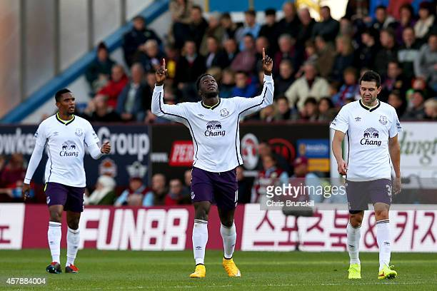 Romelu Lukaku of Everton celebrates with teammates after scoring his team's second goal during the Premier League match between Burnley and Everton...