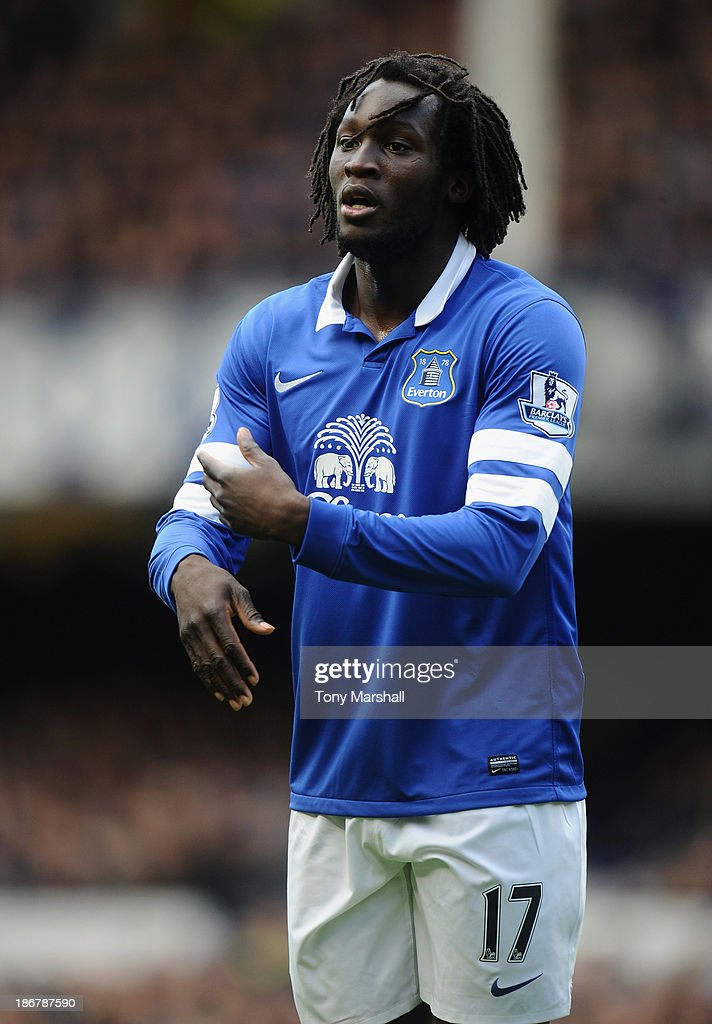 Romelu Lukaku of Everton during the Barclays Premier League match between Everton and Tottenham Hotspur at Goodison Park on November 3, 2013 in Liverpool, England.
