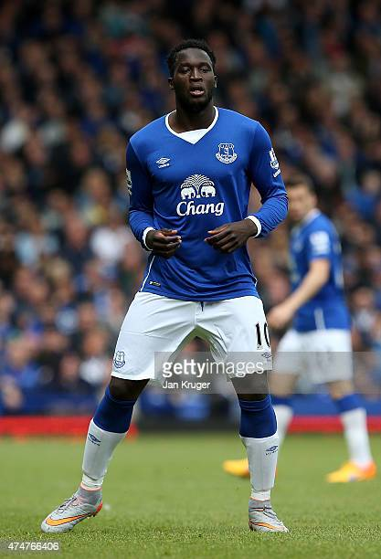 Romelu Lukaku of Everton during the Barclays Premier League match between Everton and Tottenham Hotspur at Goodison Park on May 24 2015 in Liverpool...
