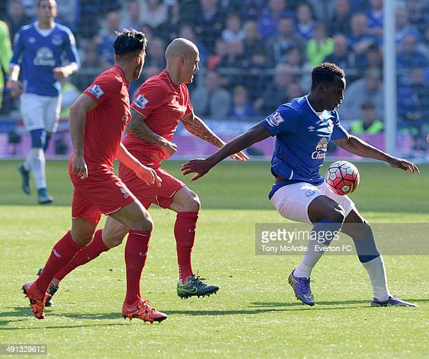 Romelu Lukaku of Everton during the Barclays Premier League match between Everton and Liverpool at Goodison Park on October 04 2015 in Liverpool...