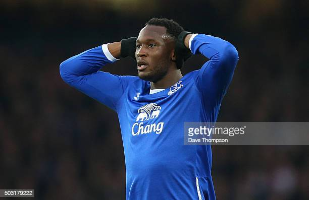 Romelu Lukaku of Everton during the Barclays Premier League match between Everton and Stoke City at Goodison Park on December 28 2015 in Liverpool...