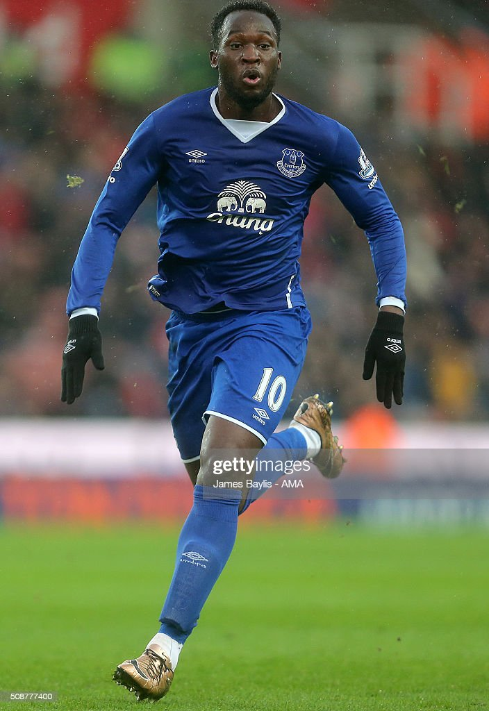 Romelu Lukaku of Everton during the Barclays Premier League match between Stoke City and Everton at the Britannia Stadium on February 06, 2016 in Stoke-on-Trent, England.