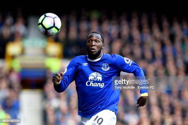 Romelu Lukaku of Everton during the Premier League match between Everton and Burnley at Goodison Park on April 15 2017 in Liverpool England