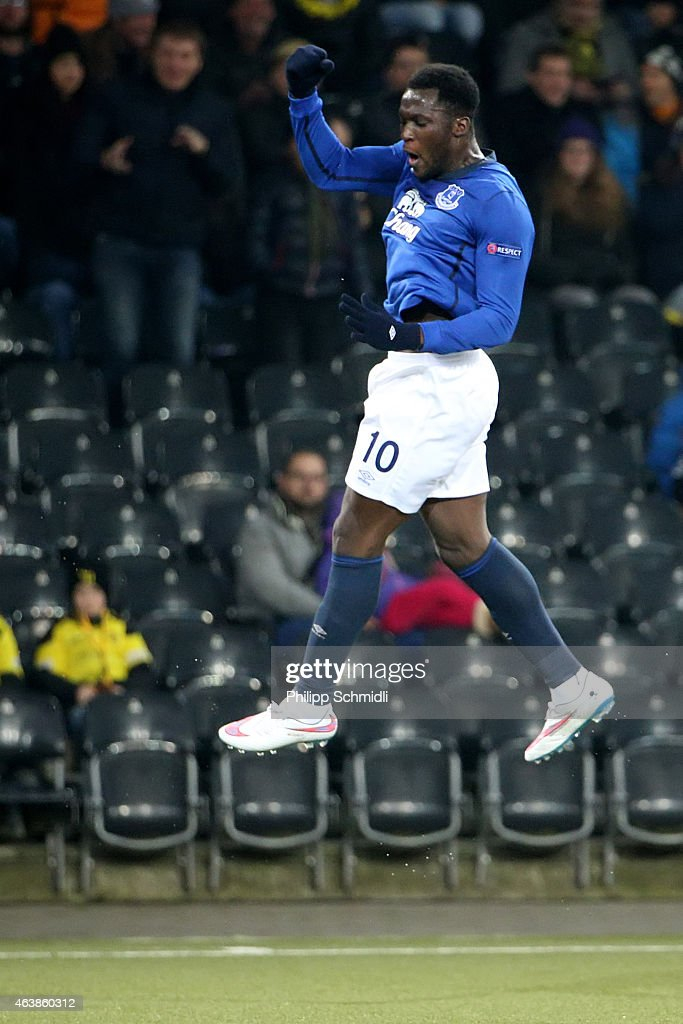 Romelu Lukaku of Everton FC celebrates his first scored goal during the UEFA Europa League Round of 32 match between BSC Young Boys and Everton FC at Stade de Suisse, Wankdorf on February 19, 2015 in Bern, Switzerland.