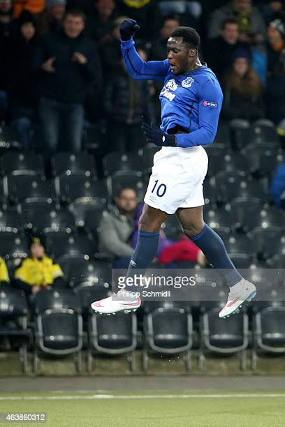 Romelu Lukaku of Everton FC celebrates his first scored goal during the UEFA Europa League Round of 32 match between BSC Young Boys and Everton FC at...
