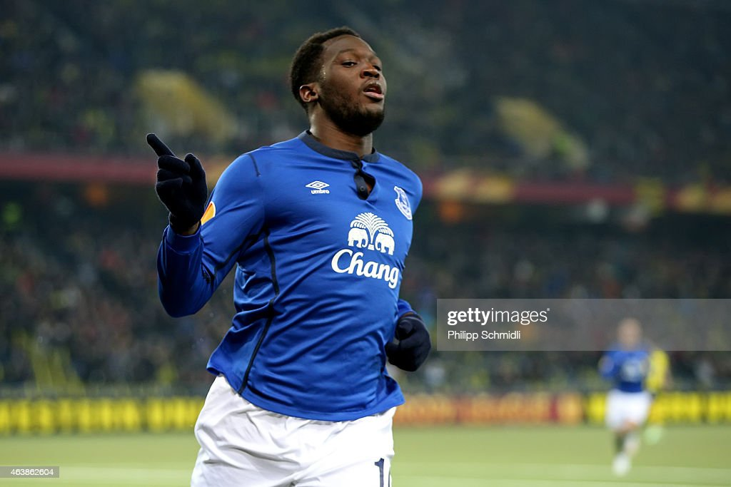Romelu Lukaku of Everton FC celebrates his third scored goal during the UEFA Europa League Round of 32 match between BSC Young Boys and Everton FC at Stade de Suisse, Wankdorf on February 19, 2015 in Bern, Switzerland.