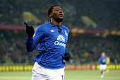Romelu Lukaku of Everton FC celebrates his third scored goal during the UEFA Europa League Round of 32 match between BSC Young Boys and Everton FC at...