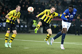 Romelu Lukaku of Everton FC scores a goal against Steve Von Bergen of BSC Young Boys during the UEFA Europa League Round of 32 match between BSC...