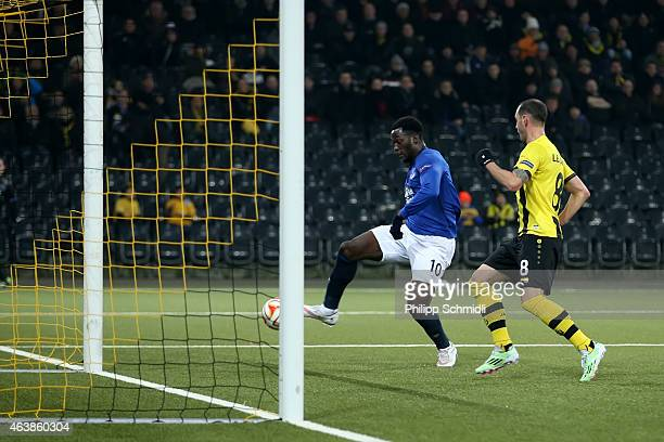 Romelu Lukaku of Everton FC scores his second and Evertons third goal during the UEFA Europa League Round of 32 match between BSC Young Boys and...
