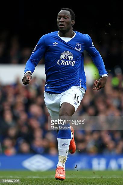 Romelu Lukaku of Everton in action during the Barclays Premier League match between Everton and Arsenal at Goodison Park on March 19 2016 in...