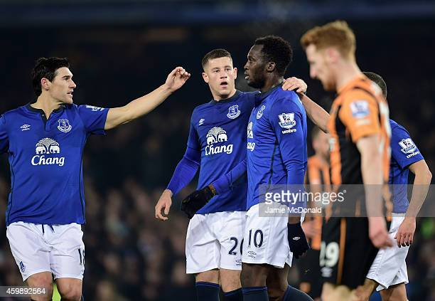 Romelu Lukaku of Everton is congratulated by teammates Gareth Barry and Ross Barkley after scoring the opening goal during the Barclays Premier...