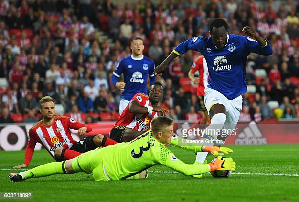 Romelu Lukaku of Everton is foiled by Jordan Pickford of Sunderland during the Premier League match between Sunderland and Everton at Stadium of...