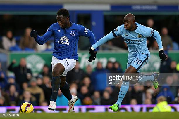 Romelu Lukaku of Everton is pursued by Eliaquim Mangala of Manchester City during the Barclays Premier League match between Everton and Manchester...