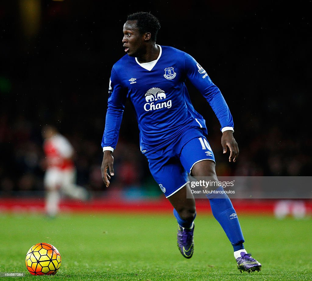 Romelu Lukaku of Everton looks on during the Barclays Premier League match between Arsenal and Everton at Emirates Stadium on October 24, 2015 in London, England.