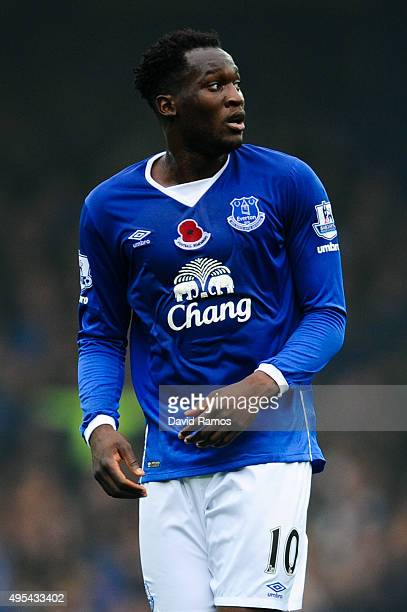 Romelu Lukaku of Everton looks on during the Barclays Premier League match between Everton and Sunderland at Goodison Park on November 1 2015 in...