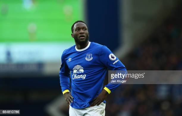Romelu Lukaku of Everton looks on during the Premier League match between Everton and Hull City at Goodison Park on March 18 2017 in Liverpool England