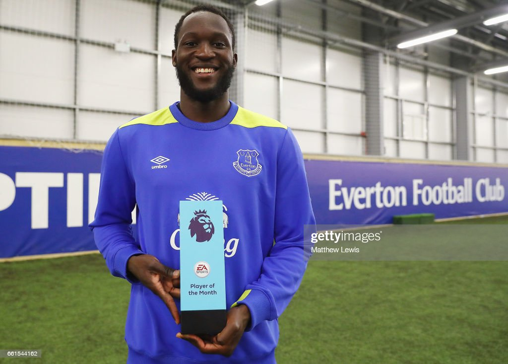 Romelu Lukaku of Everton pictured with the EA SPORTS Player of the Month award at USM Finch Farm on March 30, 2017 in Halewood, England.