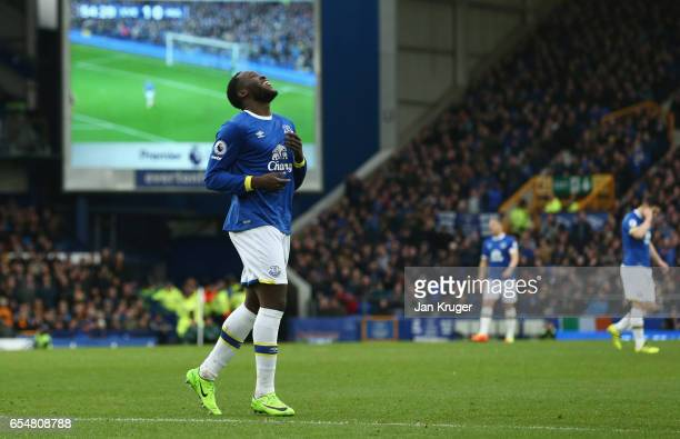 Romelu Lukaku of Everton reacts after a missed chance during the Premier League match between Everton and Hull City at Goodison Park on March 18 2017...