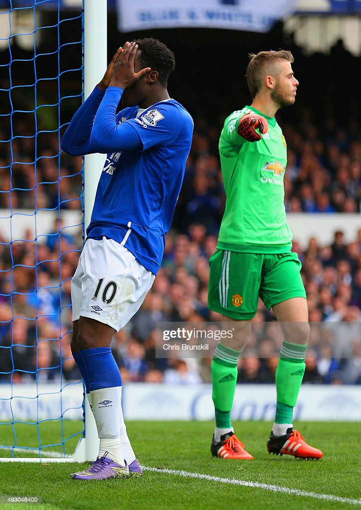 <a gi-track='captionPersonalityLinkClicked' href=/galleries/search?phrase=Romelu+Lukaku&family=editorial&specificpeople=6342802 ng-click='$event.stopPropagation()'>Romelu Lukaku</a> of Everton reacts after missing a chance during the Barclays Premier League match between Everton and Manchester United at Goodison Park on October 17, 2015 in Liverpool, England.