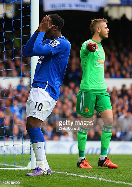 Romelu Lukaku of Everton reacts after missing a chance during the Barclays Premier League match between Everton and Manchester United at Goodison...