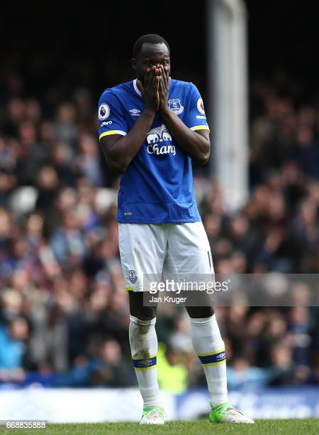 Romelu Lukaku of Everton reacts during the Premier League match between Everton and Burnley at Goodison Park on April 15 2017 in Liverpool England