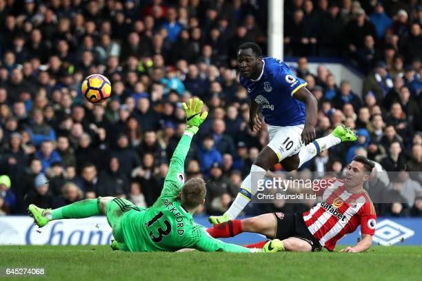 Romelu Lukaku of Everton scores his side's second goal past Jordan Pickford of Sunderland during the Premier League match between Everton and...