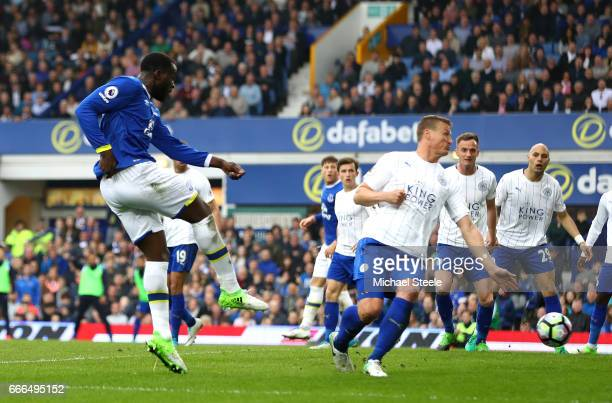 Romelu Lukaku of Everton scores his team's fourth goal during the Premier League match between Everton and Leicester City at Goodison Park on April 9...