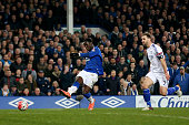 Romelu Lukaku of Everton scores his team's second goal during the Emirates FA Cup sixth round match between Everton and Chelsea at Goodison Park on...