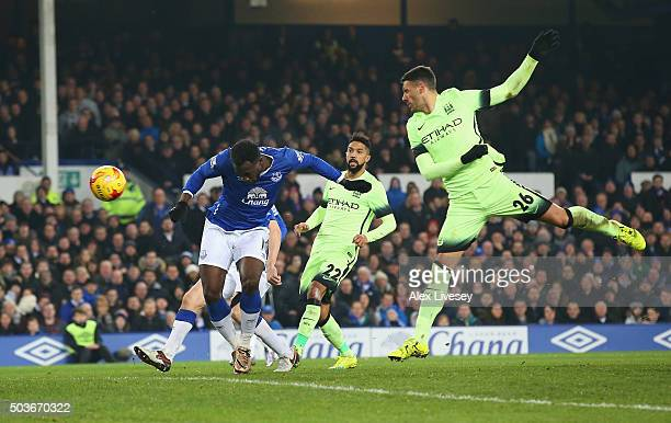 Romelu Lukaku of Everton scores his team's second goal during the Capital One Cup Semi Final First Leg match between Everton and Manchester City at...