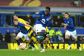 Romelu Lukaku of Everton scores their first goal from the penalty spot during the UEFA Europa League Round of 32 match between Everton FC and BSC...