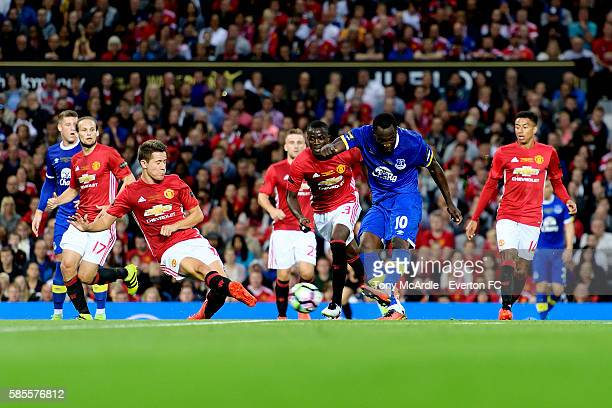 Romelu Lukaku of Everton shoots at goal during the Wayne Rooney testimonial match between Manchester United and Everton at Old Trafford on August 3...