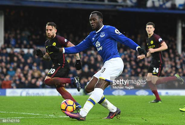 Romelu Lukaku of Everton takes a shot on goal during the Premier League match between Everton and Manchester City at Goodison Park on January 15 2017...