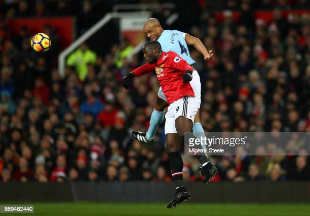 Romelu Lukaku of Mancahester United nd Vincent Kompany of Manchester City clash during the Premier League match between Manchester United and...