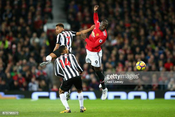 Romelu Lukaku of Manchester United and Jacob Murphy of Newcastle United in action during the Premier League match between Manchester United and...